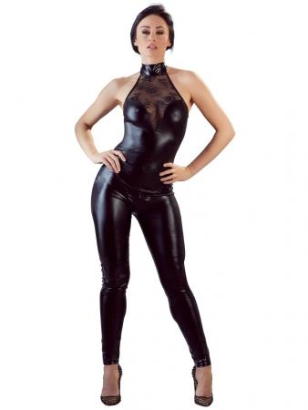 Lesklý catsuit s krajkou a zipem v rozkroku - Cottelli Collection